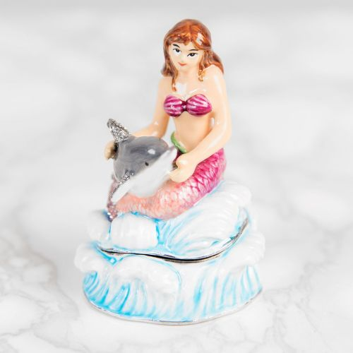 Mermaid With Dolphin Trinket Box - Treasured Trinkets Collectable Jewellery Box